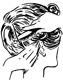 Рис. 71. Расчесывание волос щеткой после снятия бигуди
