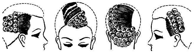 Рис. 72. Варианты сочетания укладки волос волнами с плоскими колечками