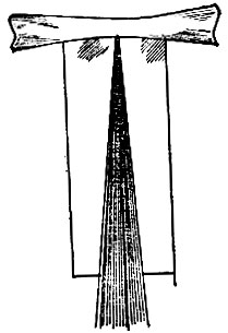 Рис. 65. Положение пряди волос на пергаментной бумаге перед накручиванием на коклюшку