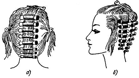 Рис. 73. Последовательность накручивания на коклюшки волос на различных участках волосяного покрова головы: а - затылочном, б - височном