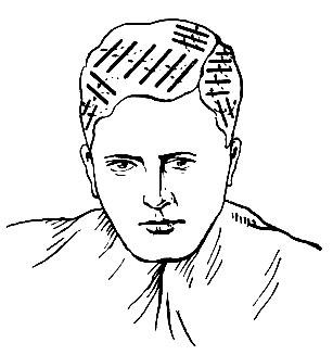 Рис. 198. Укладка коклюшек при завивке волос с наклоном назад