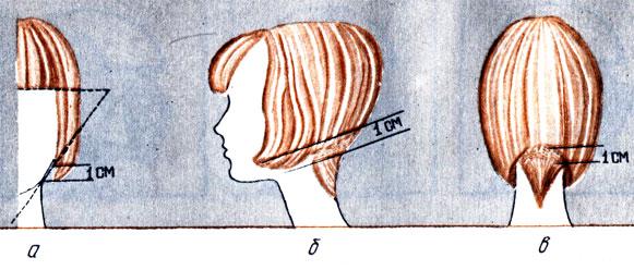 Рис. 81. Обратная (а) и обычная (б, в) градуировка в стрижке 'Каре'