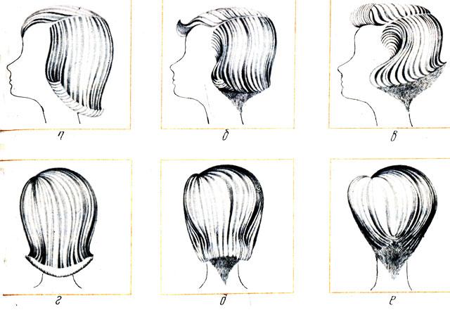 Рис 88. Изменение профильного силуэта и затылочной части прически в пределах действия одной моды