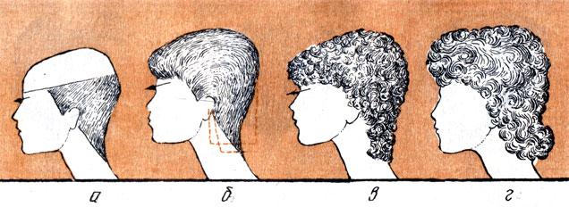 Рис. 89. Изменение профильного силуэта стрижки под влиянием бытовых требовании